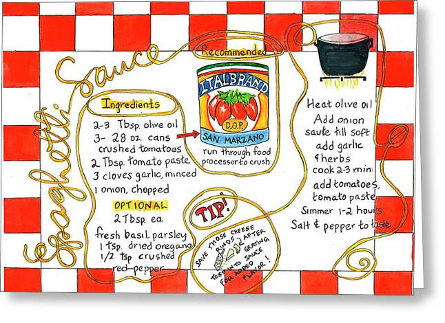 Greeting Card featuring the painting Recipe -spaghetti Sauce  by Diane Fujimoto