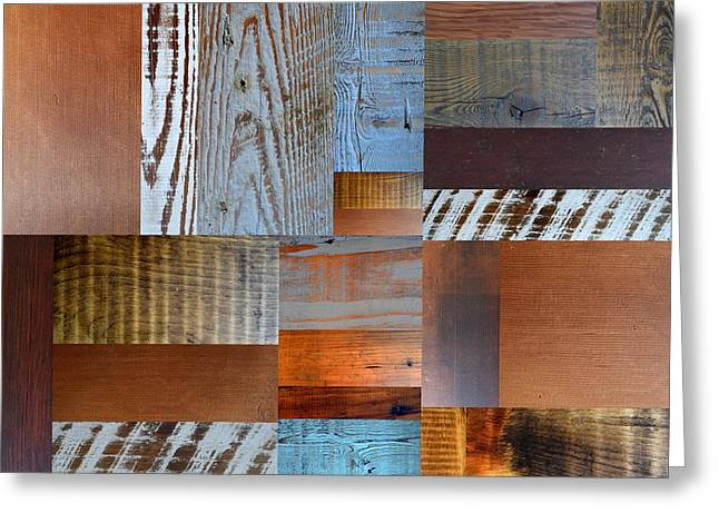 Reclaimed Wood Collage 1.0 Greeting Card by Michelle Calkins