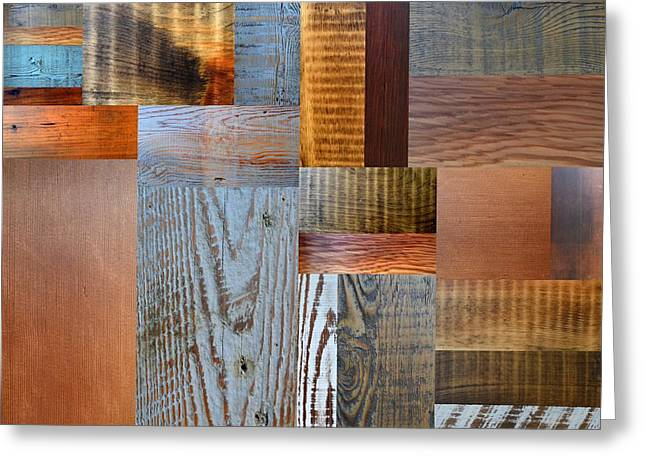 Reclaimed Wood Collage 2.0 Greeting Card by Michelle Calkins