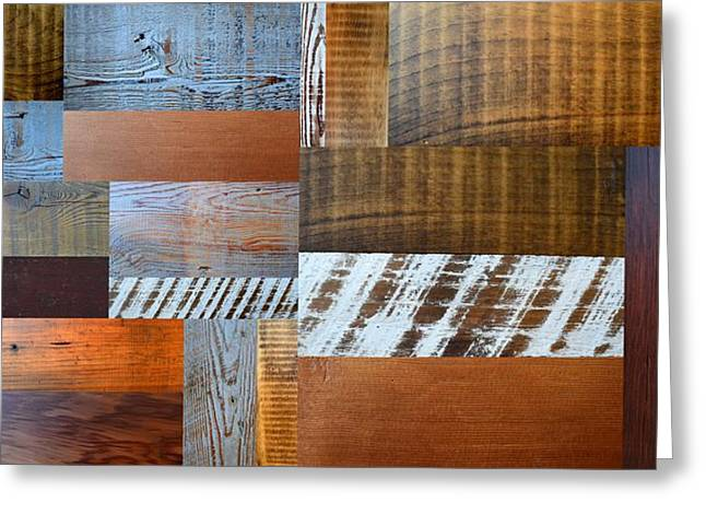 Reclaimed Wood Collage 4.0 Greeting Card by Michelle Calkins