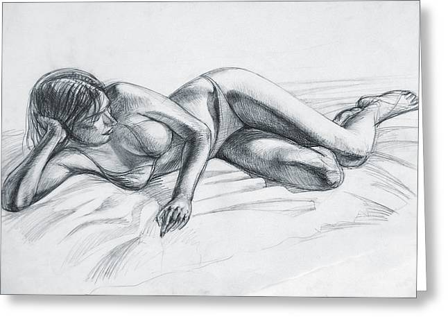 Reclined Model Greeting Card by Natoly Art