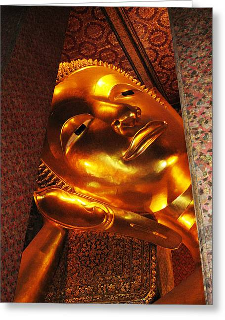 Reclining Buddha Greeting Card by Oliver Johnston