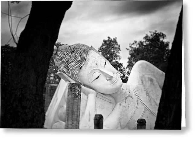 Reclining Buddha  Greeting Card by Pornsak Na nakorn