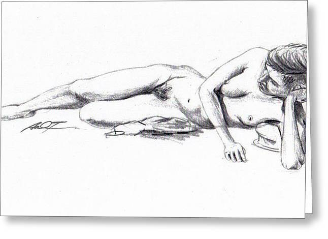 Reclining Drawing Model Greeting Card