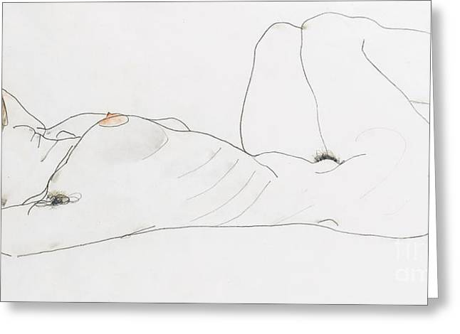 Nudes Drawings Greeting Cards - Reclining female nude Greeting Card by Egon Schiele