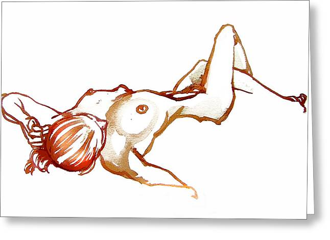 Reclining Female Nude Greeting Card by Roz McQuillan