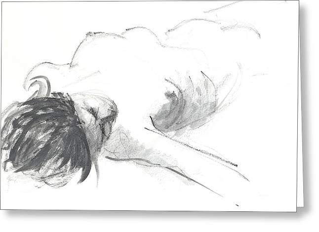 Reclining Figure Greeting Card by Chris N Rohrbach
