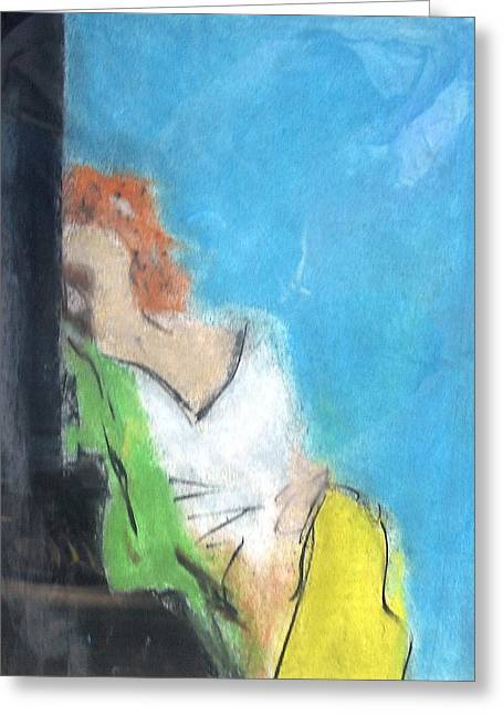 Reclining Girl Greeting Card by Thomas Armstrong