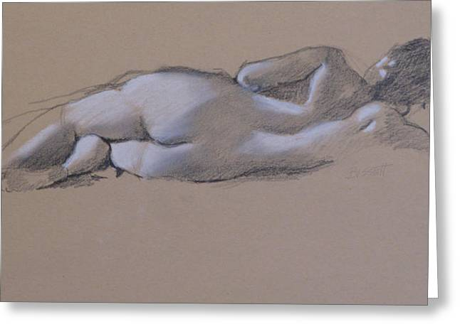 Reclining Nude 1 Greeting Card by Robert Bissett
