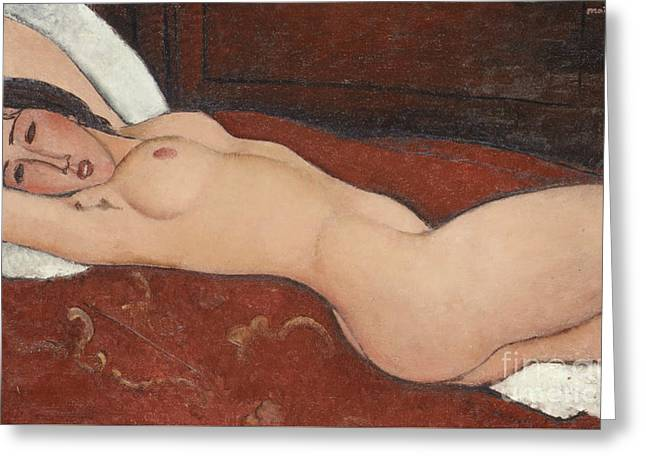Reclining Nude, 1917 Greeting Card by Amedeo Modigliani