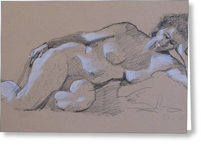 Reclining Nude 2 Greeting Card by Robert Bissett