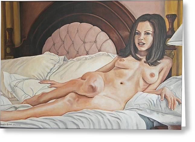 Reclining Nude Greeting Card by Kenneth Kelsoe
