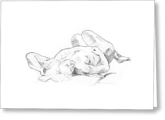 Reclining Nude  Greeting Card by Masha Batkova
