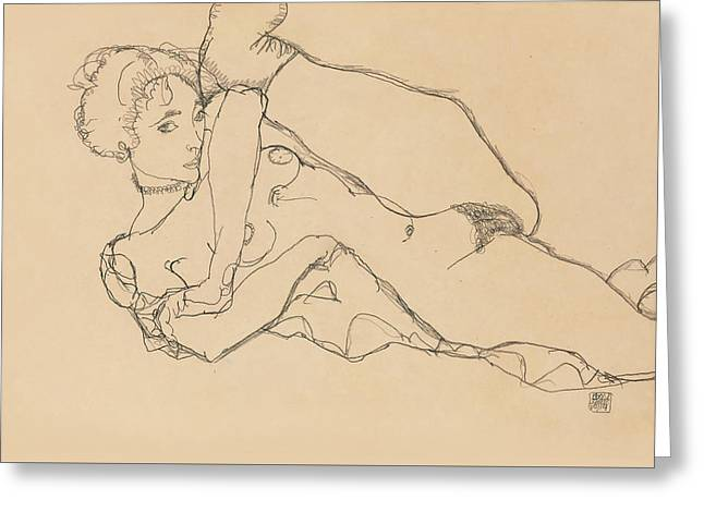 Reclining Nude With Left Leg Drawn In Greeting Card by Egon Schiele