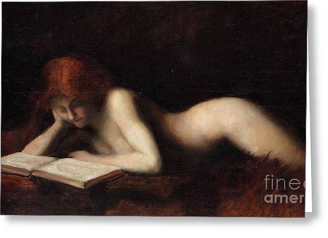Reclining Nude Woman Reading A Book  Greeting Card by Jean-Jacques Henner