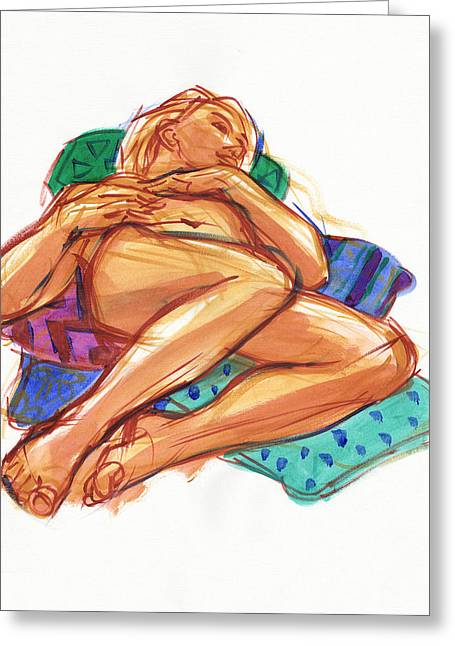 Greeting Card featuring the painting Reclining On Cushions by Judith Kunzle