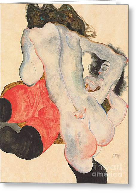 Pants Greeting Cards - Reclining woman in red trousers and standing female nude Greeting Card by Egon Schiele
