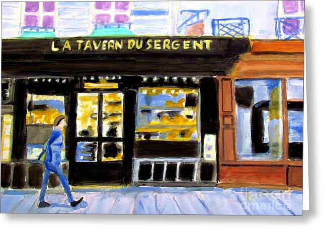 Reconnoiter Parisian Stores In Your Dreams Greeting Card by Stanley Morganstein