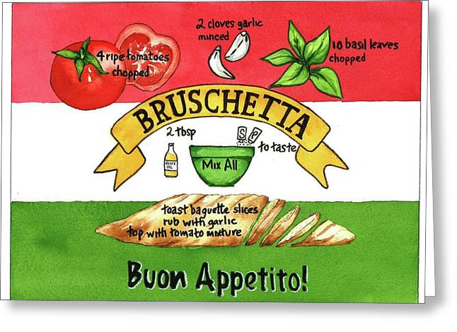 Greeting Card featuring the painting Recpe-bruschetta by Diane Fujimoto