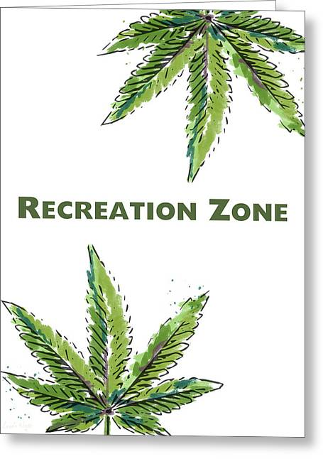 Recreation Zone Sign- Art By Linda Woods Greeting Card