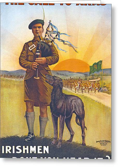 Recruitment Poster The Call To Arms Irishmen Dont You Hear It Greeting Card by English School