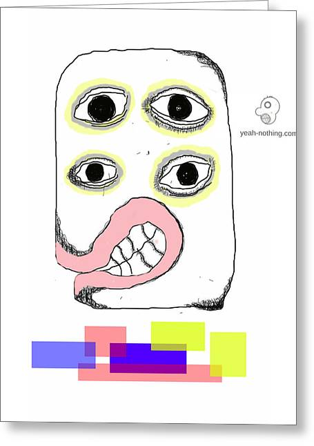 Rectangles With Face Greeting Card by Yeah Nothing