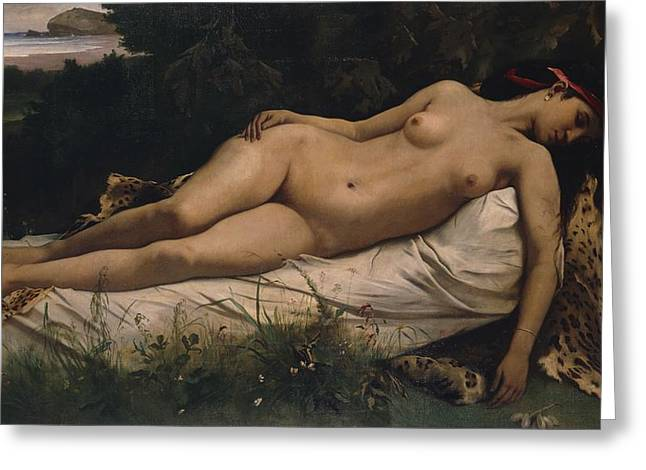 Leopard Skin Greeting Cards - Recumbent Nymph Greeting Card by Anselm Feuerbach