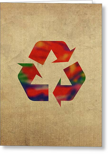 Reduce reuse recycle greeting cards fine art america recycle symbol in watercolor greeting card m4hsunfo