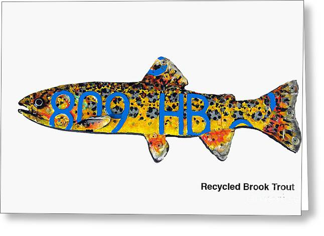 Recycled Brook Trout Greeting Card by Bill Thomson