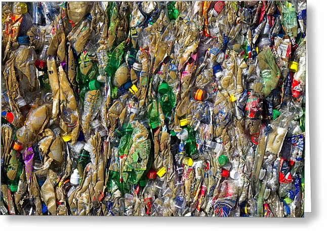 Recycled Plastic Bottles Greeting Card by David Buffington