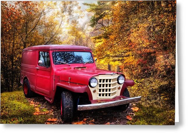 Red 1951 Jeep Greeting Card by Debra and Dave Vanderlaan