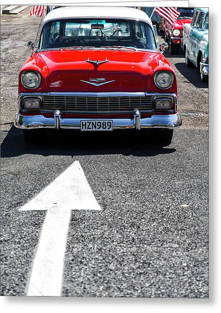 Red 1956 Chevy Bel Air Greeting Card by Russ Dixon