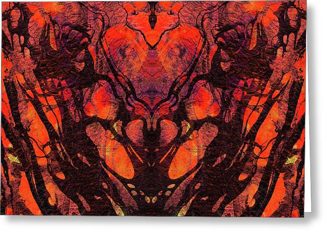 Red Abstract Art - Heart Matters - Sharon Cummings Greeting Card by Sharon Cummings
