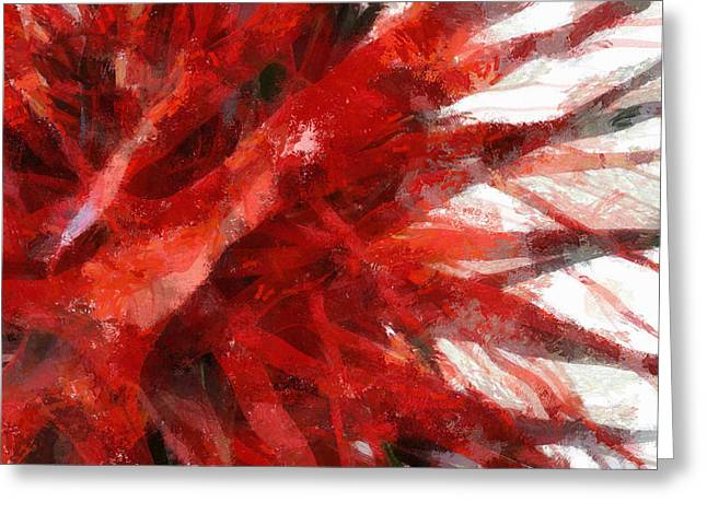 Red Abstract Greeting Card by Russ Harris