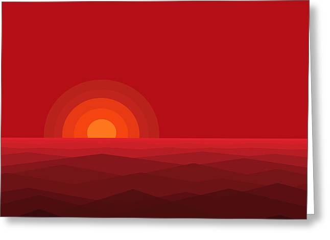 Red Abstract Sunset II Greeting Card