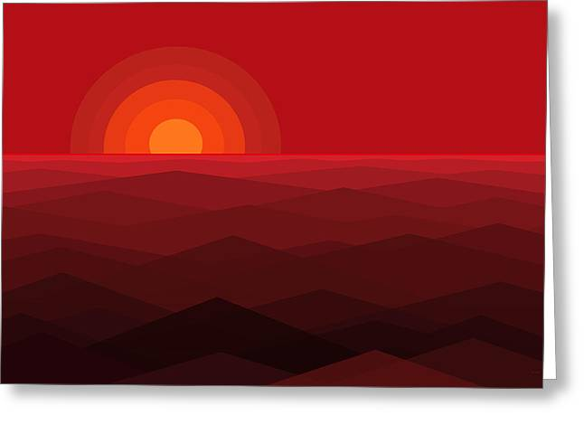 Red Abstract Sunset Greeting Card by Val Arie