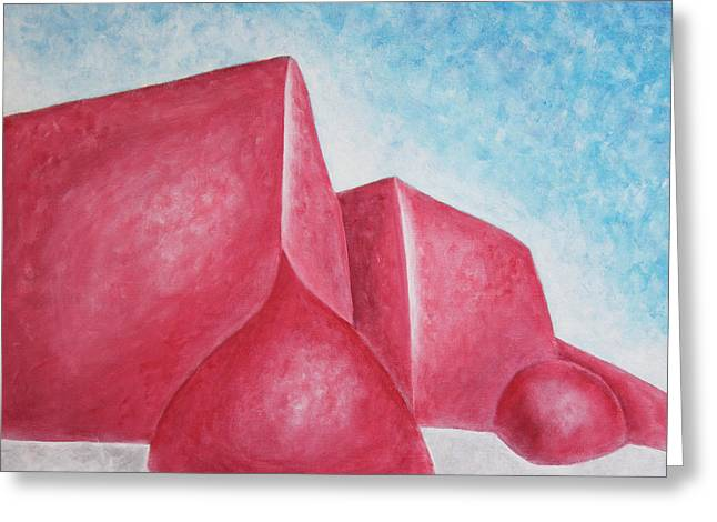 Greeting Card featuring the painting Red Adobes Under Winter Desert Sky by Ben Gertsberg
