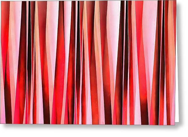 Red Adventure Striped Abstract Pattern Greeting Card by Tracey Harrington-Simpson