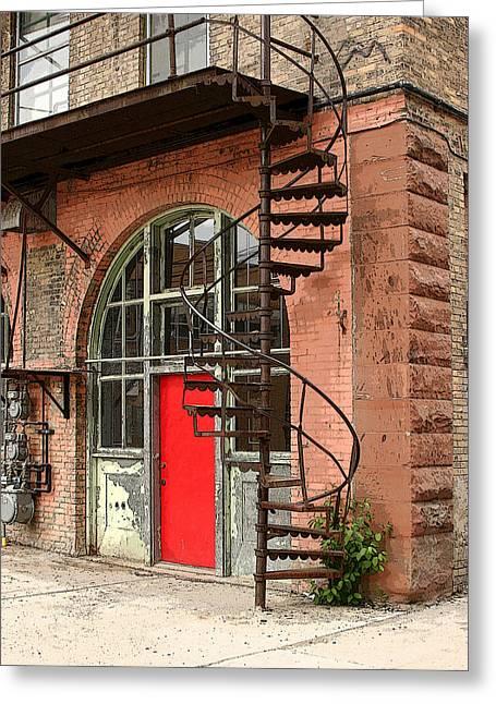 Red Alley Door Greeting Card