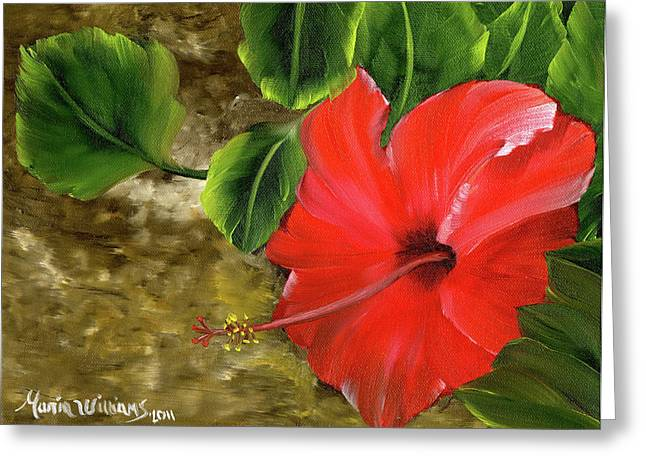 Red Amapola Greeting Card by Maria Williams