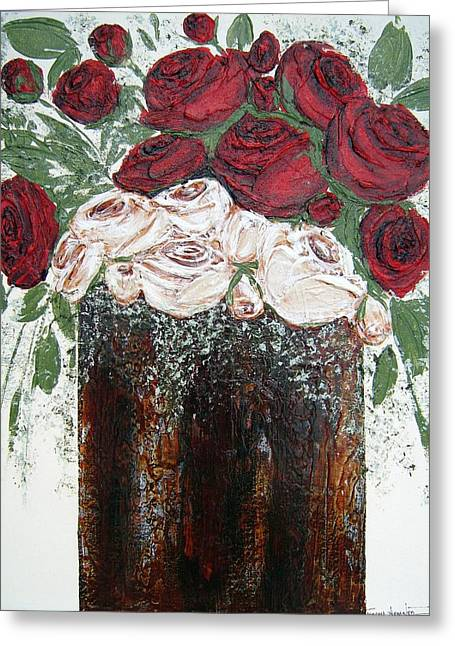 Red And Antique White Roses - Original Artwork Greeting Card