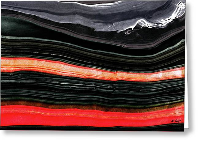 Red And Black Art - Fire Lines - Sharon Cummings Greeting Card
