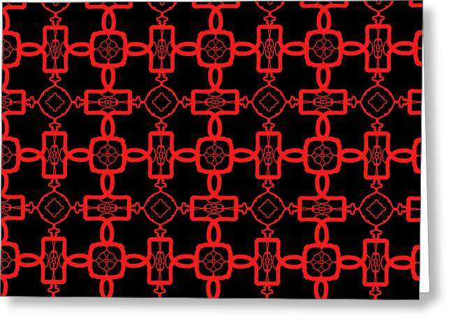 Greeting Card featuring the digital art Red And Black Celtic Cross Pattern by Becky Herrera