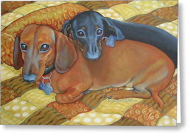 Red And Black Dachshunds - Best Buds Greeting Card by Rebecca Korpita