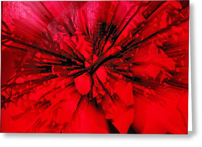 Greeting Card featuring the photograph Red And Black Explosion by Susan Capuano