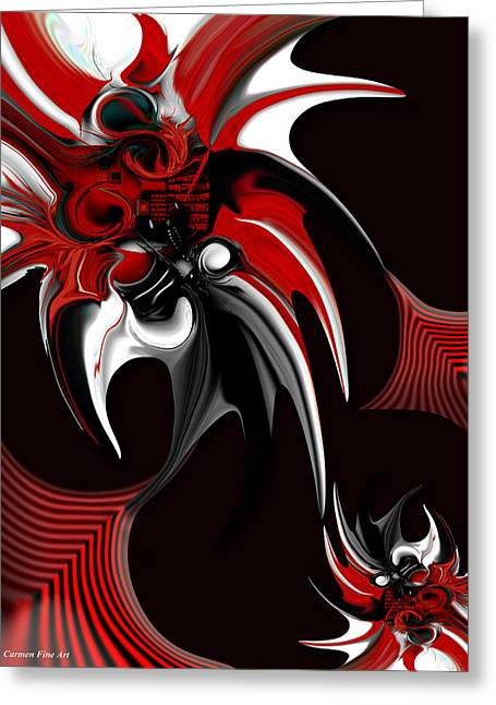Red And Black Formation Greeting Card