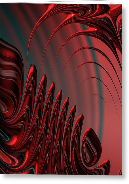 Red And Black Modern Fractal Design Greeting Card by Matthias Hauser