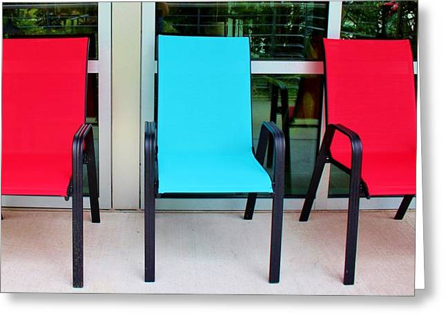 Red And Blue Chairs Greeting Card by Cynthia Guinn