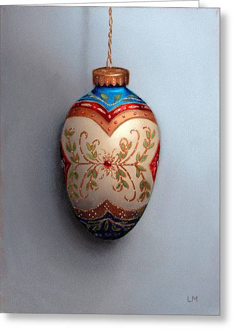 Red And Blue Filigree Egg Ornament Greeting Card