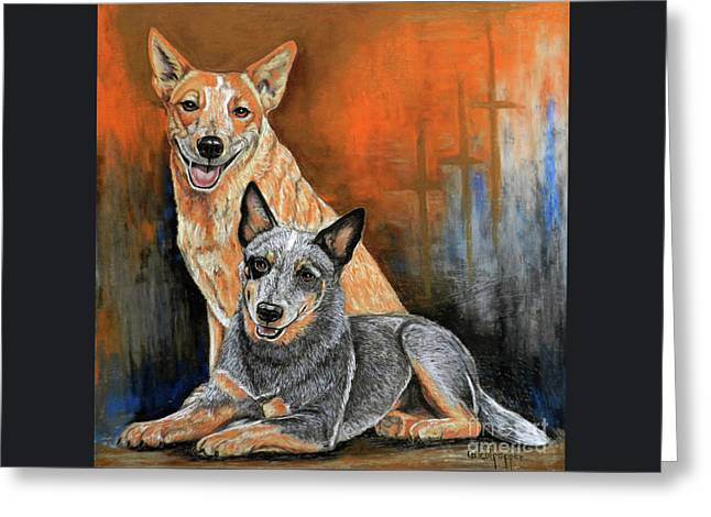 Red And Blue Heelers Greeting Card by Cat Culpepper
